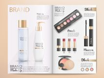 Skönhetsmedelproduktkatalog eller broschyrmall royaltyfri illustrationer