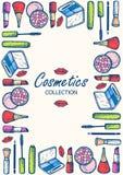 Skönhetsmedelsamling Ögonskugga, mascara, rodnad, blyertspenna för ögon stock illustrationer