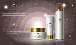 Skönhetsmedelskönhetserie, annonser av högvärdig kroppkräm för hudomsorg Mall för designbaner, vektorillustration Arkivfoton