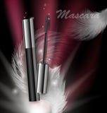Skönhetsmedelskönhetserie, annonser av högvärdig mascara på en mörk bakgrund Mall för designaffischer, plakat, logo stock illustrationer