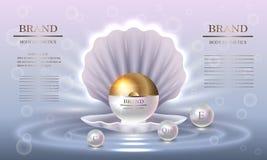 Skönhetsmedelskönhetserie, kräm- förpacka för högvärdig pärla för hudomsorg Modell för designaffischen, plakat, baner vektor Fotografering för Bildbyråer
