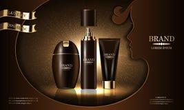 Skönhetsmedelskönhetsproduktserie, högvärdigt schampo för kroppsprejkräm för hudomsorg, kosmetisk presentation, banermodell, vekt royaltyfri illustrationer