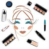 Skönhetsmedeluppsättningen skissar fastställd makeup för vektor royaltyfri illustrationer
