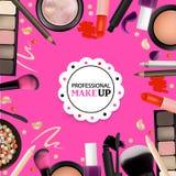 Skönhetsminkdesign för salong, kurser, makeupkonstnärer Kosmetiska produkter, yrkesmässigt smink, omsorg Tryckbar mall för Bu stock illustrationer