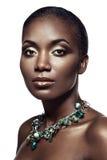 Skönhetstående av den stiliga etniska afrikanska flickan som isoleras på whi arkivbilder