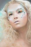 Skönhetstående av kvinnan med smink Fotografering för Bildbyråer