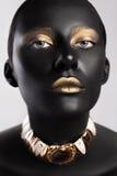 Skönhetstil för högt mode Framsidakonst Bodypaint fotografering för bildbyråer