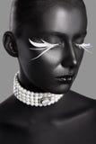 Skönhetstil för högt mode Framsidakonst Bodypaint royaltyfri fotografi