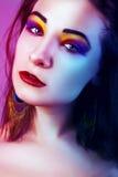 Skönhetung flicka härlig framsida makeover perfekt hud Arkivfoton