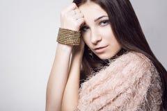 Skönhetung flicka härlig framsida makeover perfekt hud Royaltyfri Fotografi