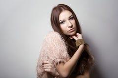 Skönhetung flicka härlig framsida makeover perfekt hud Royaltyfri Foto