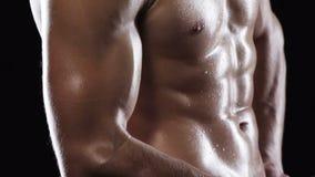 Skörd av mannen med den muskulösa torson lager videofilmer