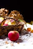 Skörd av röda äpplen i en korg och i höstsidor royaltyfri foto