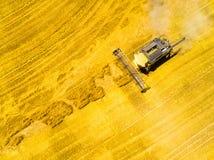 Skörd av vetefältet  arkivfoto