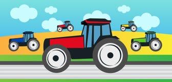 Skörd och många traktorer Royaltyfri Foto