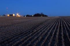 Skördat fält av korn på skymning Royaltyfria Foton