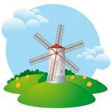 skörden mal windmillen stock illustrationer