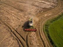 Skördetröska - flyg- sikt av den moderna skördetröskan på plockningen vetet på det guld- vetefältet i sommaren Royaltyfri Foto