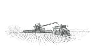 Skördetröska och traktor som arbetar i fältillustration vektor stock illustrationer