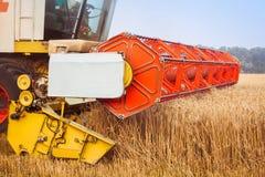 Skördetröska som samlar vetefältet Närbild Royaltyfri Fotografi