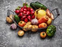 Skördgrönsaker med örtkökträdgården royaltyfri bild