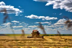 Skördtekniker harvester Jordbruksmark och att slutta fält på en ljus och solig dag i sommar arkivfoton