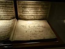 Sköt av en personal av en musikalisk sammansättning av Mozart royaltyfri bild