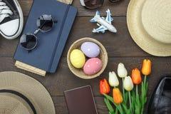 Sköt den bästa sikten för tabellen av lycklig påsk för garnering Fotografering för Bildbyråer