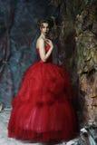 sköt den medeltida ståenden för den härliga klänningeraen studiokvinnan Skjutit i ett s Royaltyfri Fotografi