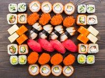 sköt sushi för black set Arkivfoto