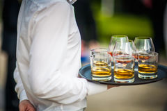 Sköta om för lyxmat och för drinkar (Cognac och whisky) royaltyfri foto