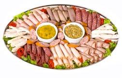 sköta om uppläggningsfat för kall meat Arkivfoton