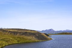 The Skútustaðagígar are pseudocraters at the Lake Myvatn, Ice Stock Photo