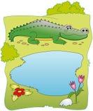 skąpanie krokodylem przygotowywającym jest Zdjęcia Royalty Free