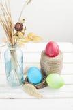 Składów Kolorowi Wielkanocni jajka na białym tle Obrazy Royalty Free