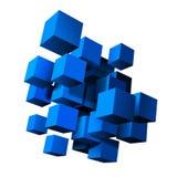 Skład błękitni 3d sześciany Zdjęcia Royalty Free