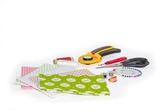 Skład instrumenty, rzeczy i tkaniny dla pikować, Zdjęcie Royalty Free