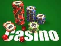 Skład kostka do gry i kasyno układy scaleni ilustracji