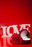 Skład miłość bielu słowa i wzrastał Fotografia Royalty Free