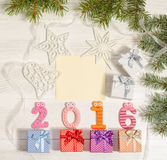 Skład od liczb 2016 i prezentów pudełek Obraz Royalty Free