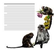 Skład przy kątem prześcieradło z tekstem przedstawia małpy z kwiatami i bananami ilustracji