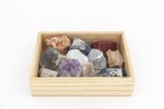 Skład różnorodni kryształy na białym tle. Fotografia Stock