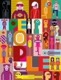 Skład różnorodni ludzie royalty ilustracja