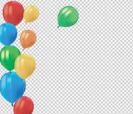Skład realistyczni lotniczy latający kolorowi balony z odbija odosobnionego na przejrzystym tle Świąteczny wystroju element dla royalty ilustracja