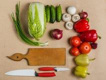 Skład surowi organicznie vegetabes z nożem Obrazy Royalty Free