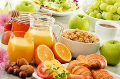Skład z śniadaniem na stole Balnced dieta Zdjęcie Stock