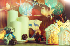 Skład z świeczek gałąź Zdjęcia Royalty Free