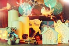 Skład z świeczek gałąź Obraz Stock