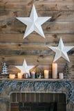 Skład z świeczkami, gwiazdy Obraz Royalty Free