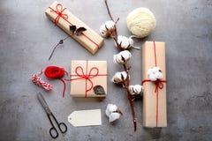 Skład z drobnicowymi prezentów pudełkami Obraz Royalty Free